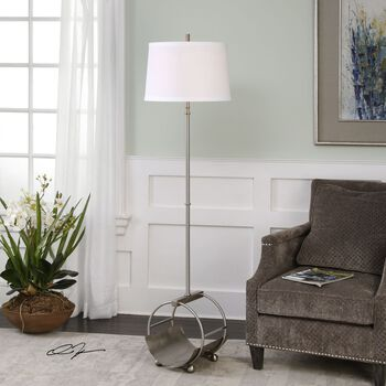 Uttermost Loutre Brushed Nickel Floor Lamp