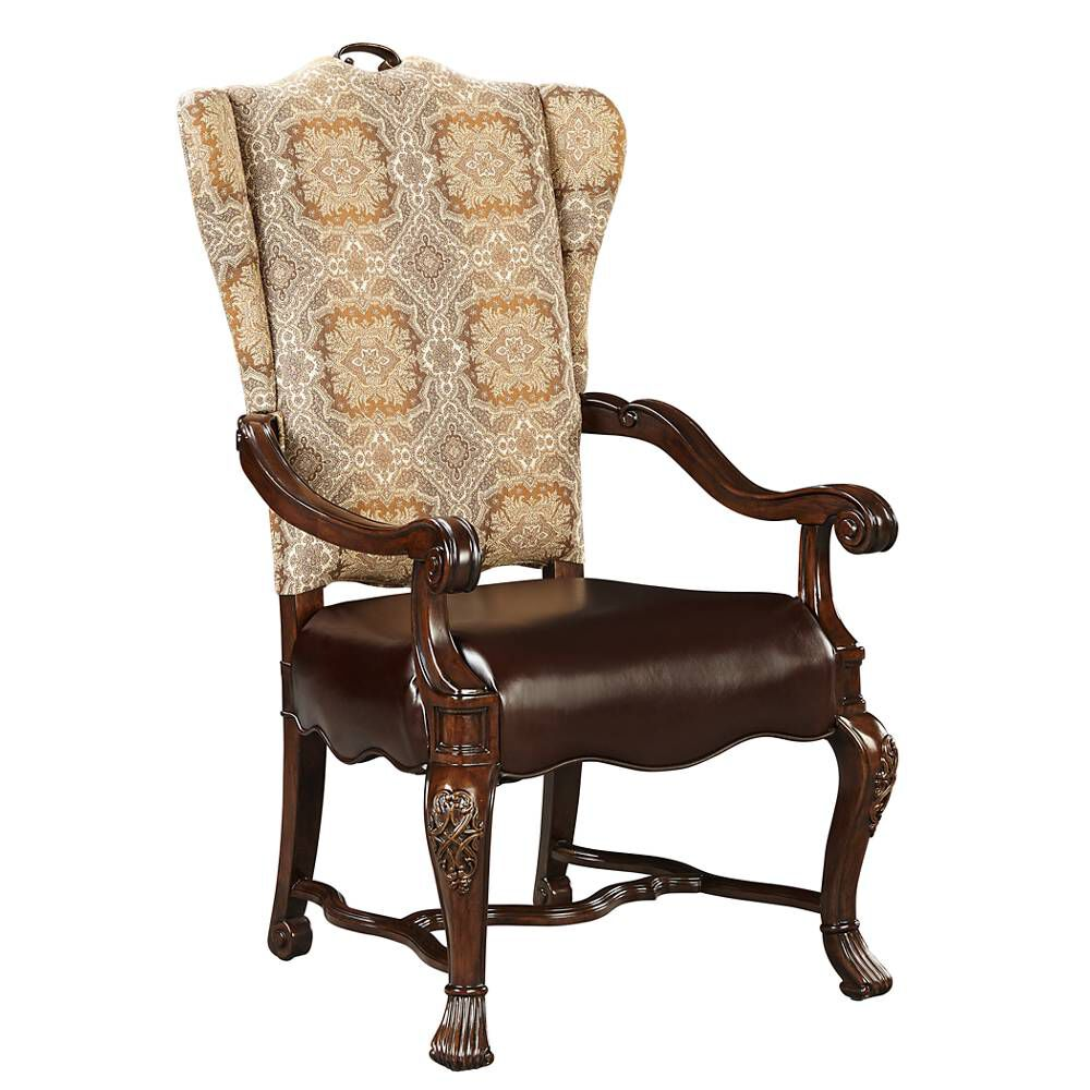 Stanley casa d 39 onore sella upholstered arm chair mathis for Upholstered dining chairs with arms