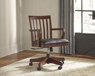 Ashley Wassner Dark Brown Home Office Swivel Desk Chair