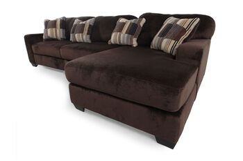 Ashley westen chocolate sectional mathis brothers furniture for Sofa bed 91762
