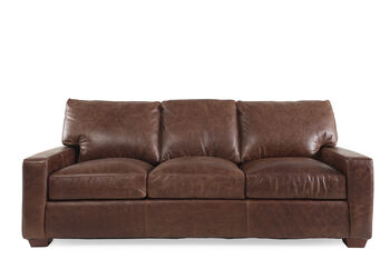 USA Leather Chestnut Leather Sofa