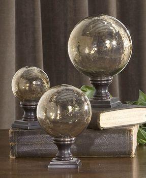 Uttermost Lamya Glass Globe Finials, Set/3