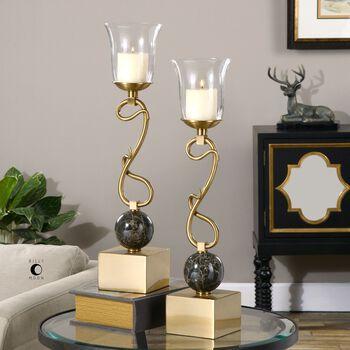 Uttermost Attila Coffee Bronze Candleholders, S/2