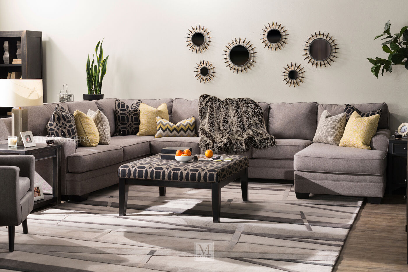 Ashley Cresson Pewter Four Piece Sectional Mathis