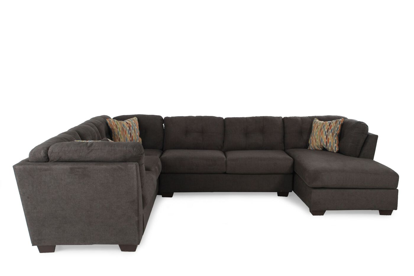 Ashley delta city steel three piece sectional mathis for 3 piece white sectional sofa