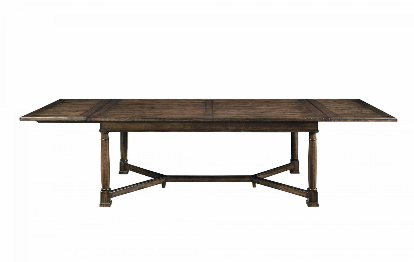 Bernhardt vintage patina trestle dining table mathis for Trestle dining table
