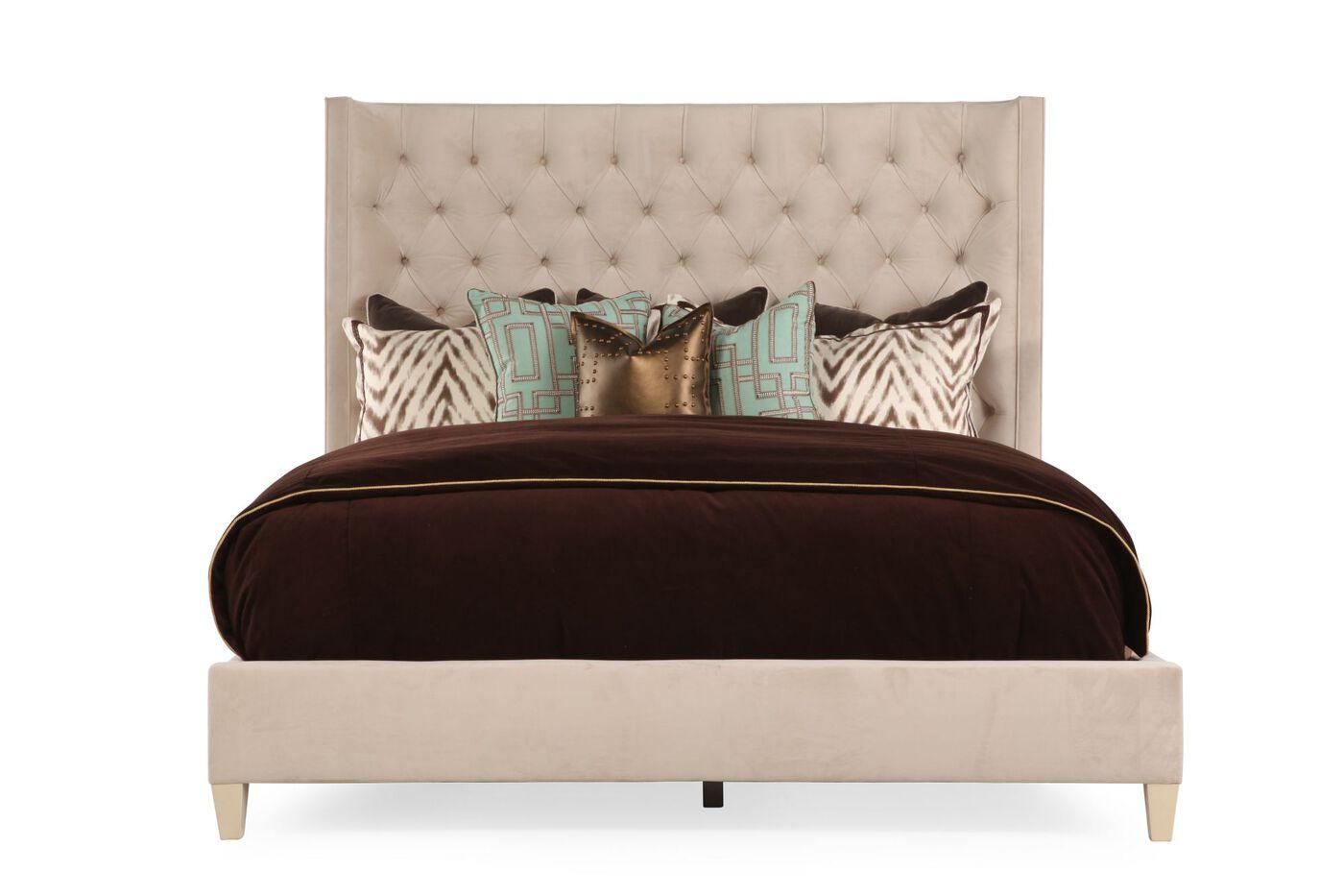 Bernhardt salon upholstered bed mathis brothers furniture for Bedroom furniture upholstered beds