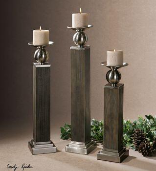 Uttermost Hestia Wood Candleholders S/3