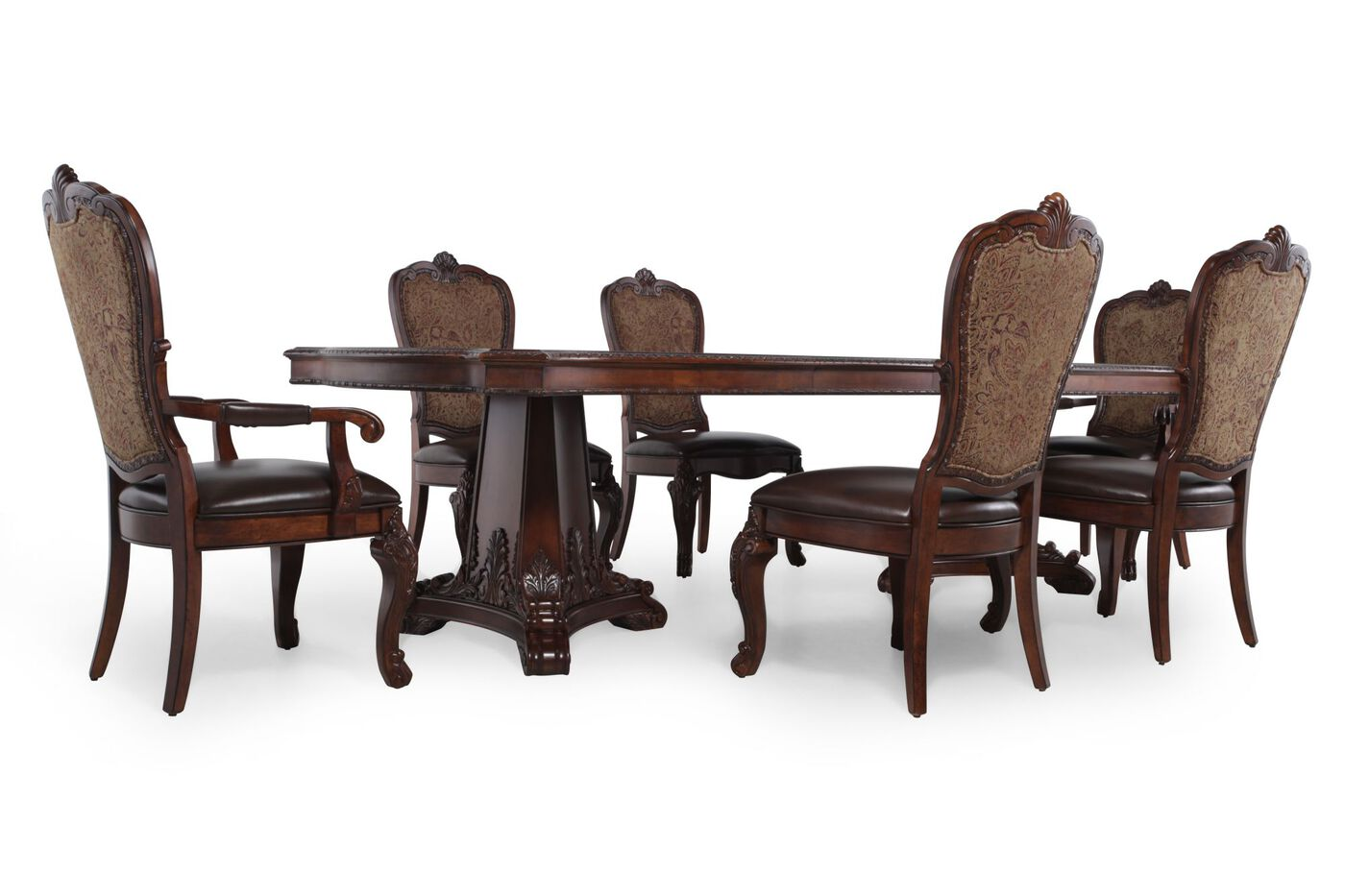 A r t furniture seven piece old world pedestal table for A r t dining room furniture