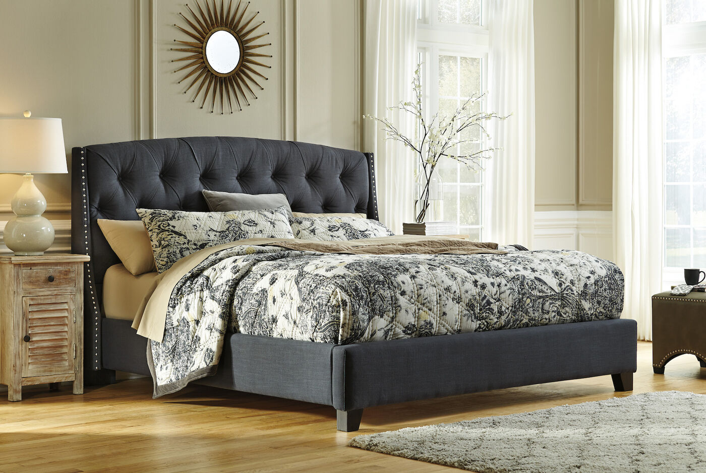 Ashley Kasidon Dark Gray Tufted Bed | Mathis Brothers ...
