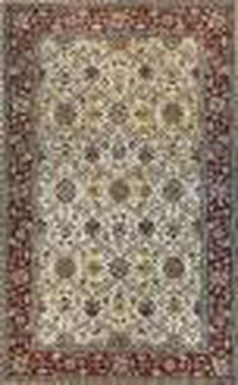 LBJ Hand Tufted Wool Ivory/Red Traditional Rug