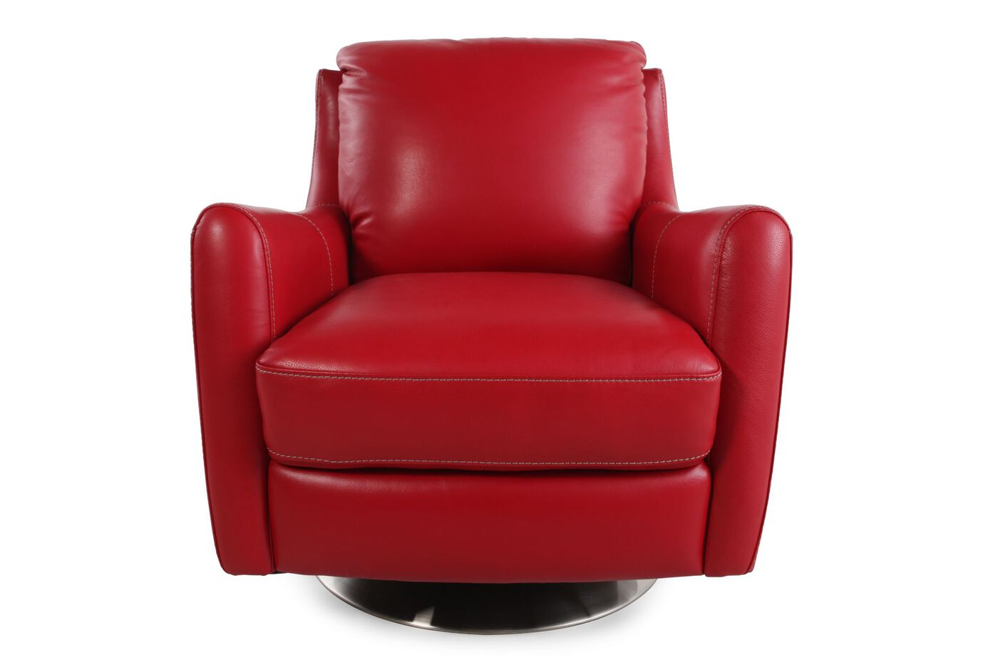 La Z Boy Xavier Red Leather Swivel Chair Mathis Brothers