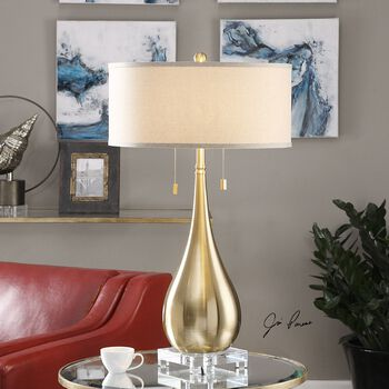 Uttermost Lagrima Brushed Brass Lamp