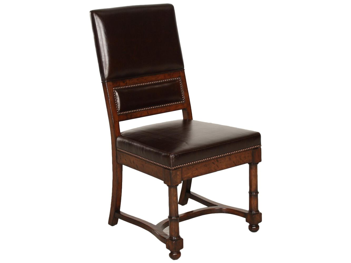 Bernhardt vintage patina leather side chair mathis