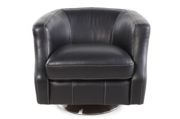 La-Z-Boy Axel Black Leather Swivel Chair