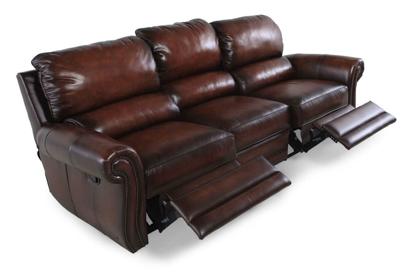 bernhardt reese double reclining leather sofa mathis brothers furniture. Black Bedroom Furniture Sets. Home Design Ideas