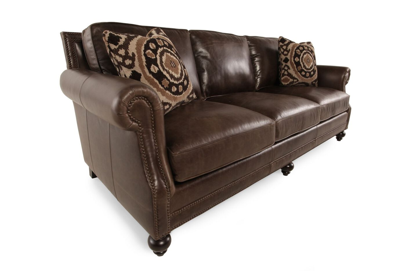 Bernhardt Brae Leather Sofa Mathis Brothers Furniture