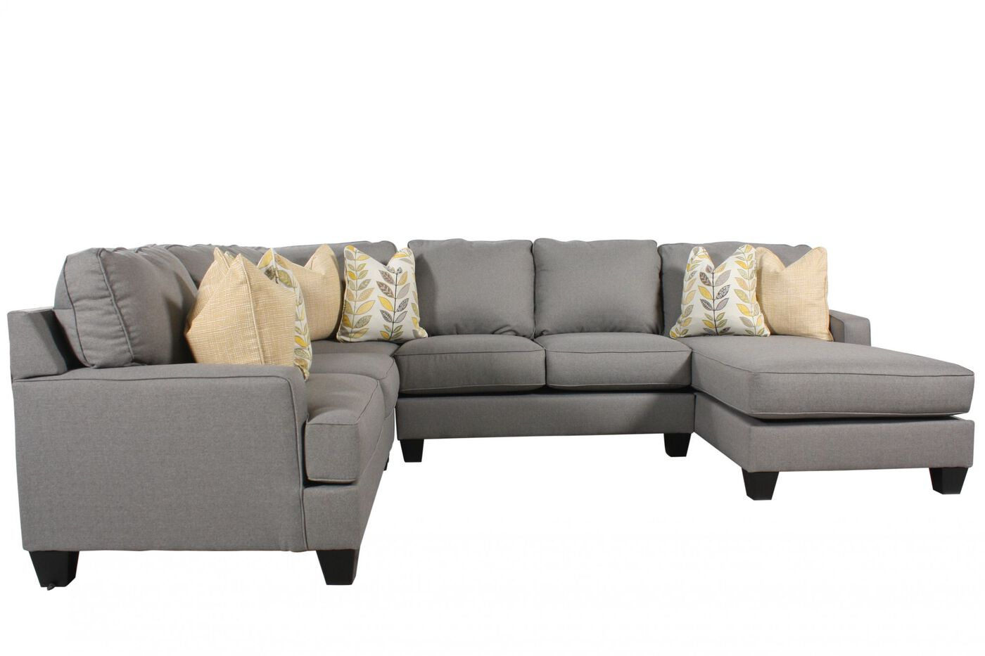 Ashley 4 piece sectional mathis brothers furniture for Sectional sofas with 4 recliners