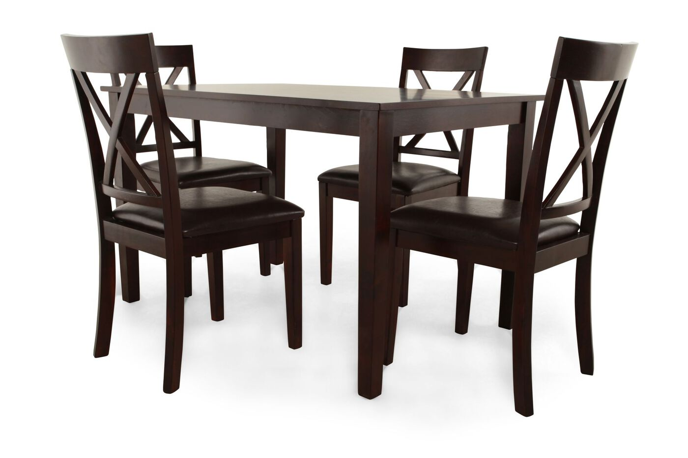 5 piece espresso dining set by mb home mathis brothers for 2 piece dining room set