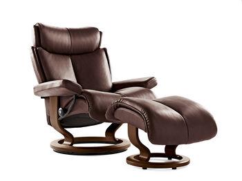 Stressless Magic Paloma Large Chocolate Chair and Ottoman