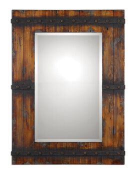 Uttermost Stockley Rustic Mahogany Mirror