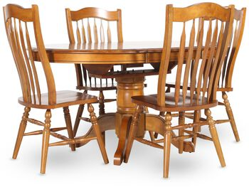 Winners Only Vintage Oak Five Piece Dining Set Mathis Brothers Furniture