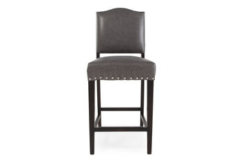 Boulevard Gray Leather Counter Stool