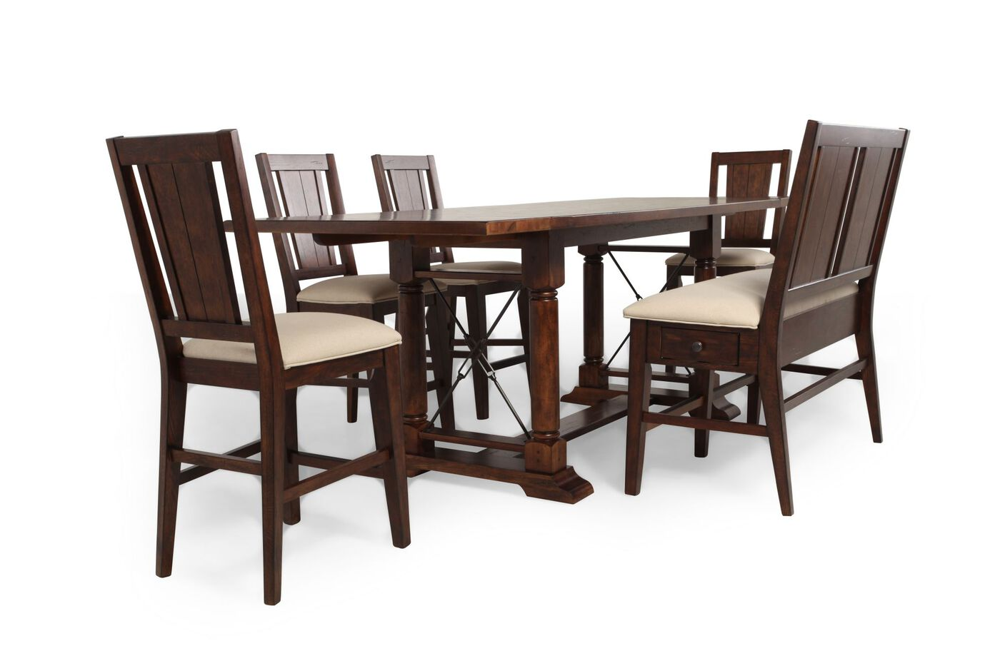 broyhill attic rustic oak six piece pub set mathis