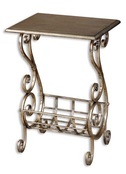 Uttermost Lilah Silver Leaf Magazine Table