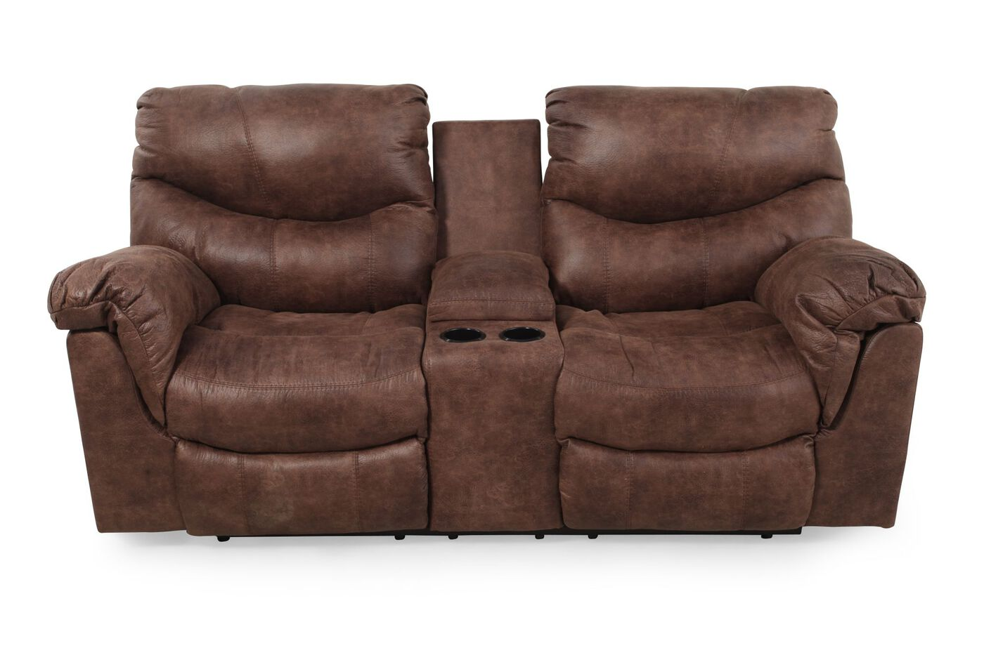 Ashley Alezna Gunsmoke Double Reclining Loveseat With Console Mathis Brothers Furniture