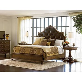 Stanley Villa Fiora Toasted Pecan Upholstered Bed