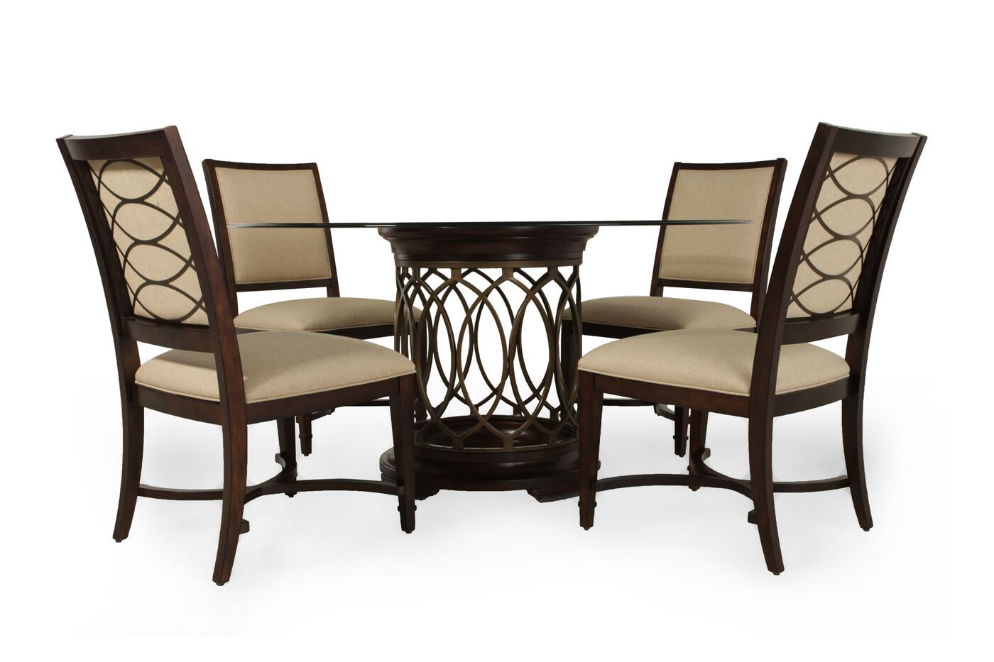 A r t furniture five piece intrigue dining set mathis for Dining room t