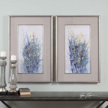 Uttermost Indigo Florals Framed Art S/2