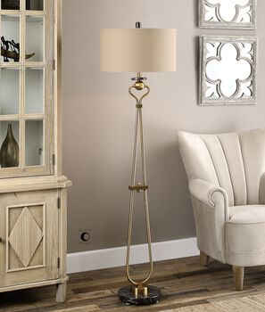 Uttermost Arcella Brushed Brass Floor Lamp