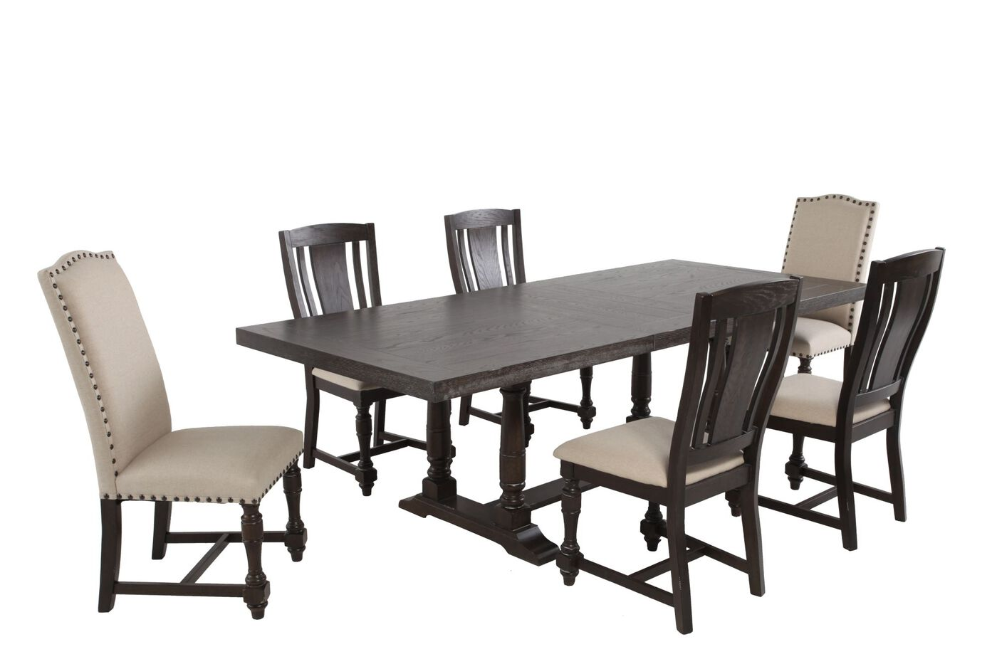 winners only xcalibur seven piece espresso dining set: seven piece dining set