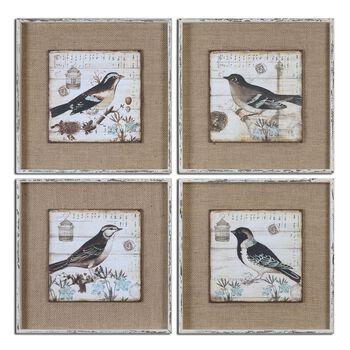 Uttermost Black And White Birds Art S/4