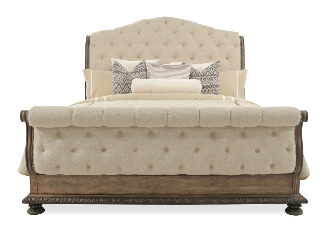 Hooker rhapsody tufted upholstered bed mathis brothers for Bedroom furniture upholstered beds