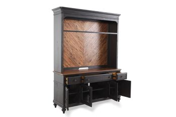Magnussen Home Barnhardt Black Rustic Console and Hutch