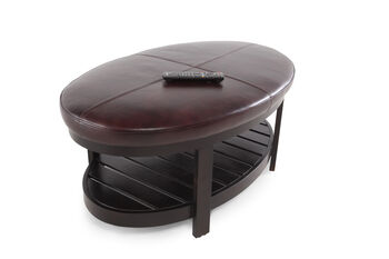 Boulevard Leather Top Cocktail Ottoman