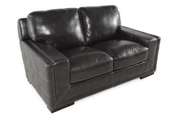Simon Li Las Vegas Pewter Leather Loveseat