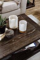 Ashley Daichi White Candle Holder Set