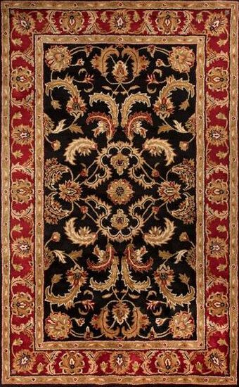LBJ Hand Tufted Wool Black/Red Traditional Rug