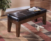 Ashley Larchmont Burnished Dark Brown Large Upholstered Dining Room Bench