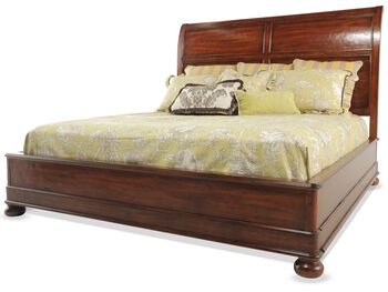 Bernhardt vintage patina king platform bed mathis brothers furniture for Bernhardt vintage patina bedroom