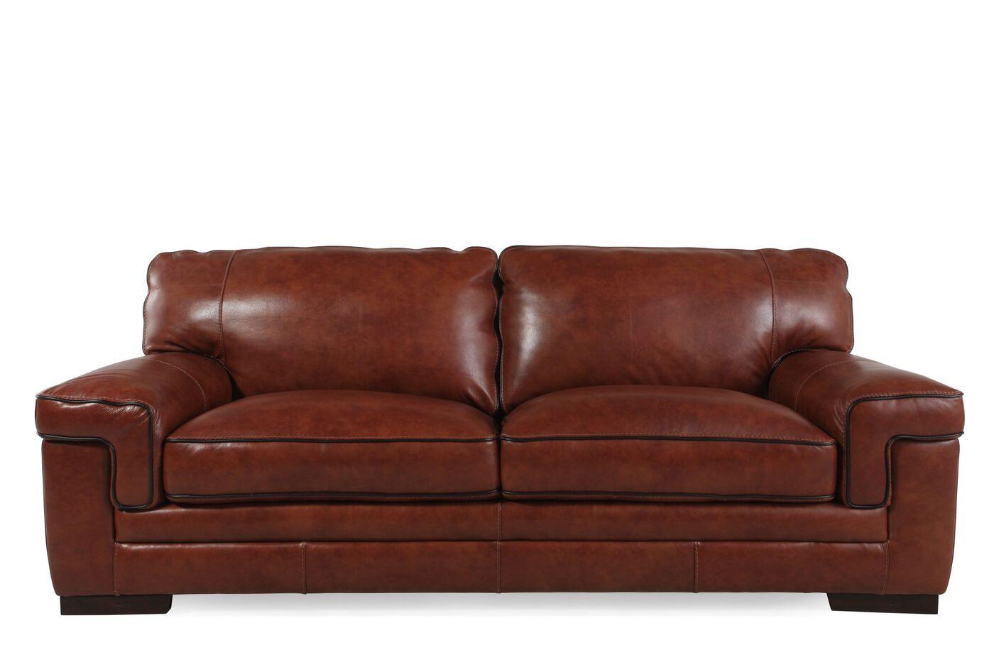 Simon Li Leather Stampede Chestnut Sofa Mathis Brothers
