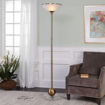 Uttermost Laton Brushed Brass Floor Lamp