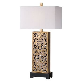 Uttermost Vishera Antiqued Gold Table Lamp