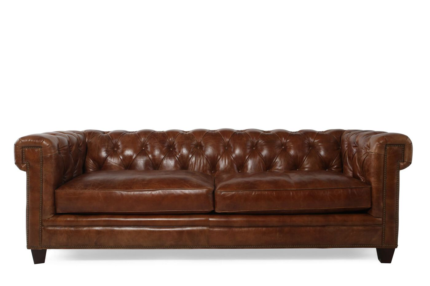 Hooker Stationary Leather Sofa | Mathis Brothers Furniture