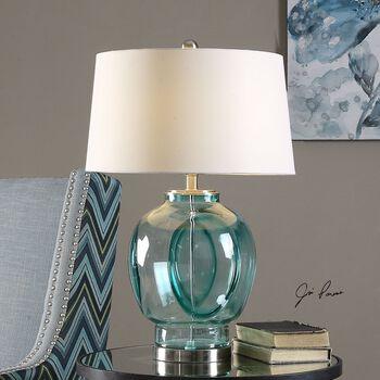 Uttermost Soresina Blue Green Glass Lamp