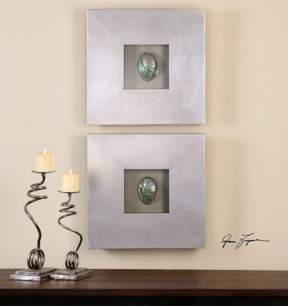 Wall Decor Silvers: Uttermost Abalone Shells Silver Wall Art, S/2